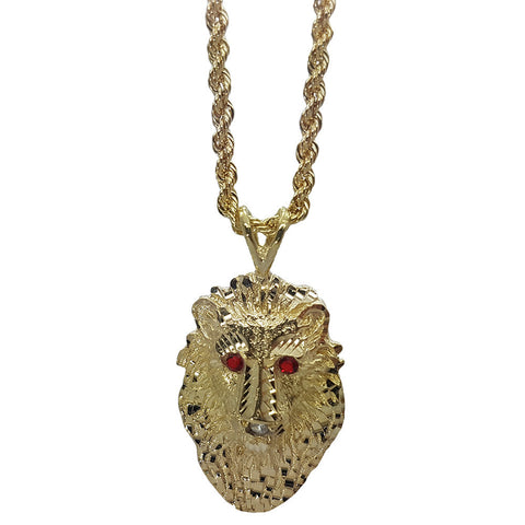 10K Yellow Gold Rope Chain Long Skull With Red Emerald Eyes Necklace