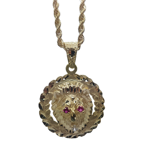 10K Yellow Gold Rope Chain Long Skull With Red Emerald Eyes And Cutting Designed Bordering Line Necklace