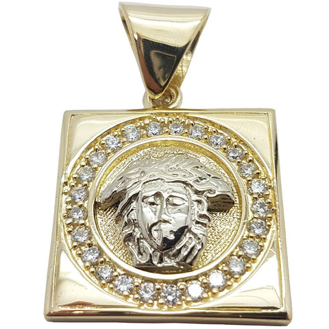 Medusa Head With Square Gold Plate 10K Yellow Gold Men Pendant