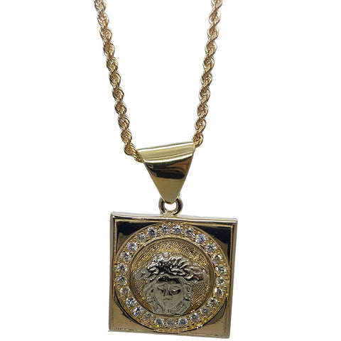 10K Yellow Gold Rope Chain Medusa Head With Square Gold Plate Necklace