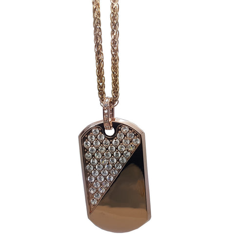 10K Yellow Gold Franco Chain Army Tag Half Nugget And Half Plane Necklace