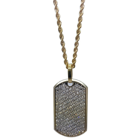 10K Yellow Gold Rope Chain Army Tag With Full Nuggeted Necklace