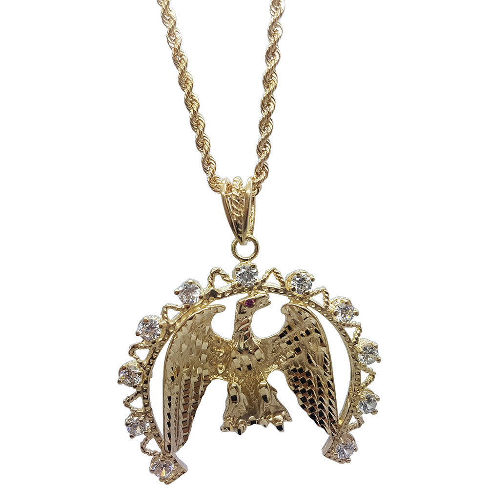 10K Yellow Gold Rope Chain Eagle With Semi-Circle Bordering Necklace - Solid Gold Online