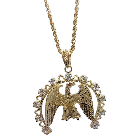 10K Yellow Gold Rope Chain Eagle With Semi-Circle Bordering Necklace