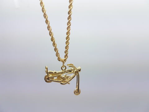 10K Yellow Gold Rope Chain Ghost Rider Bike Necklace