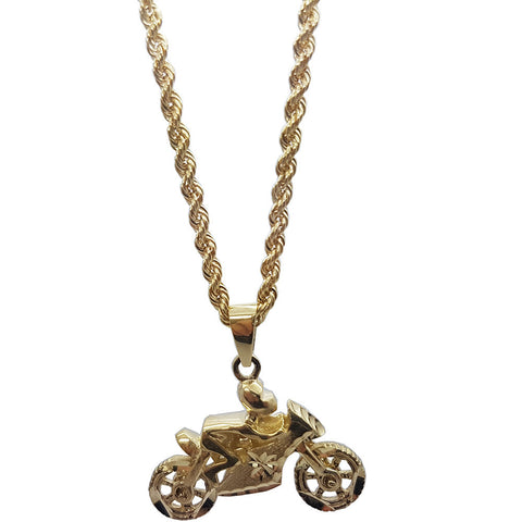 10K Yellow Gold Rope Chain Racer Bike Necklace
