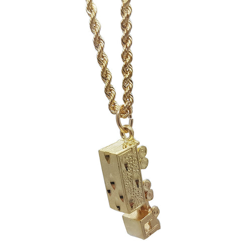 10K Yellow Gold Rope Chain Truck Necklace