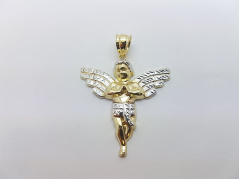 10K Solid Yellow Gold Baby Angel Men Pendant - Solid Gold Online