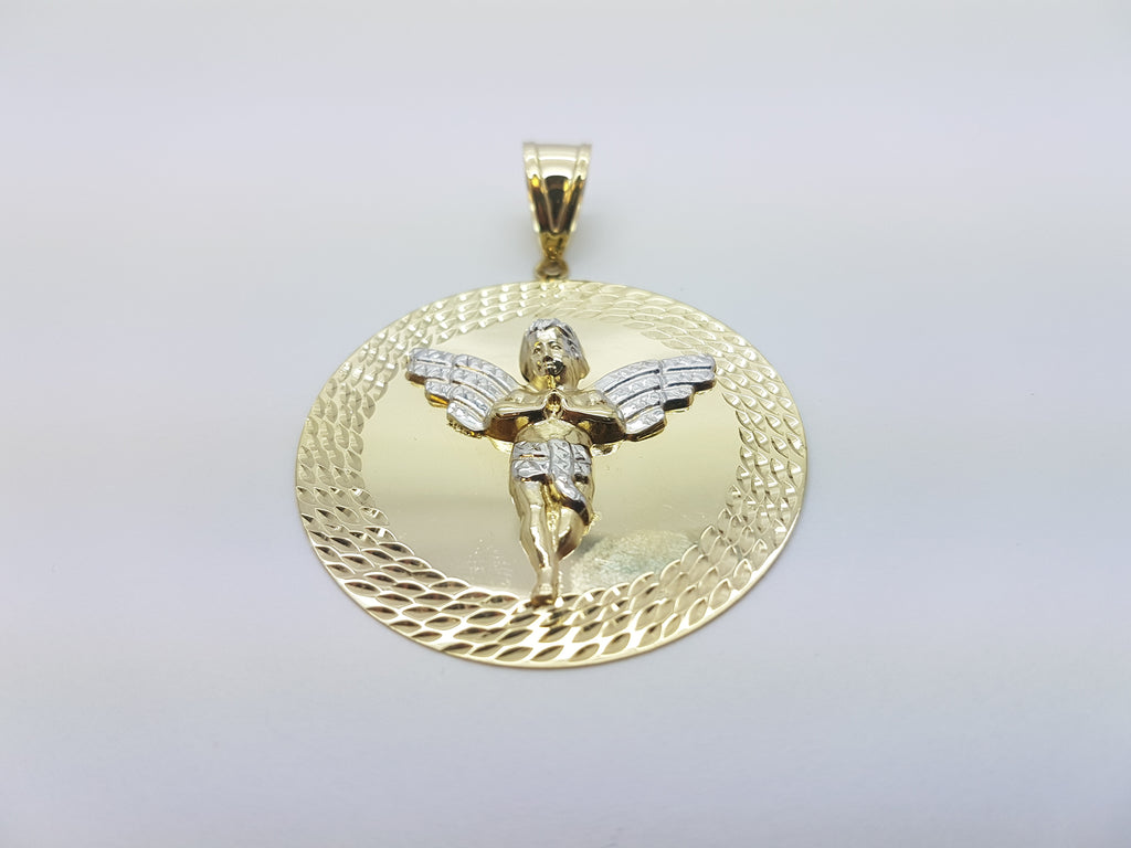 10K Solid Yellow Gold Baby Angel with Golden Designed Plate Men Pendant - Solid Gold Online