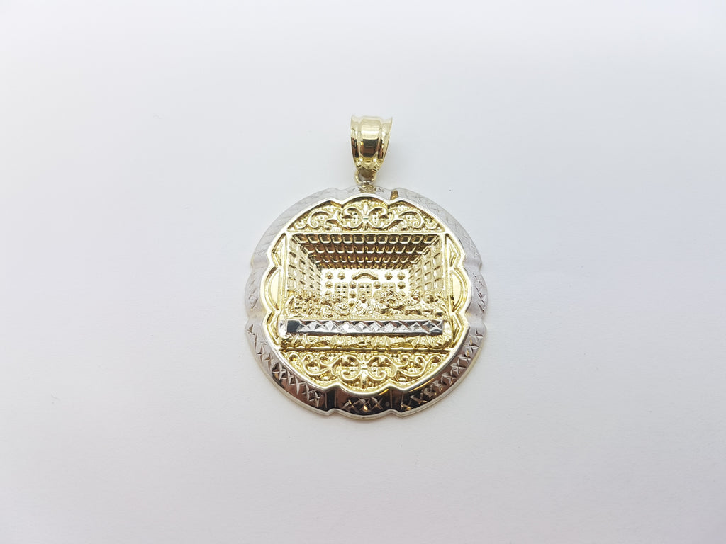10K Solid Yellow Gold Ancient Cut Designed Round Gold Plate Men Pendant