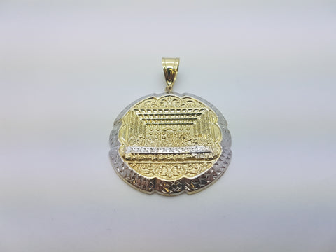 10K Solid Yellow Gold Beautiful Ancient Cut Designed Round Gold Plate Men Pendant