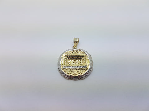 10K Solid Yellow Gold Ancient People Craft On Round Gold Plate Men Pendant - Solid Gold Online