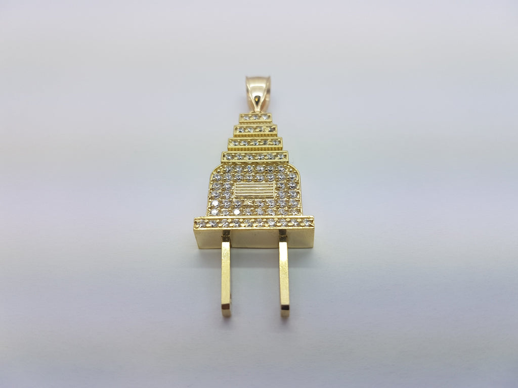 10K Solid Yellow Gold Electric Plug Men Pendant