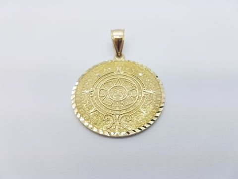 10K Solid Yellow Gold Ancient Cultural Craft On Round Gold Plate Men Pendant