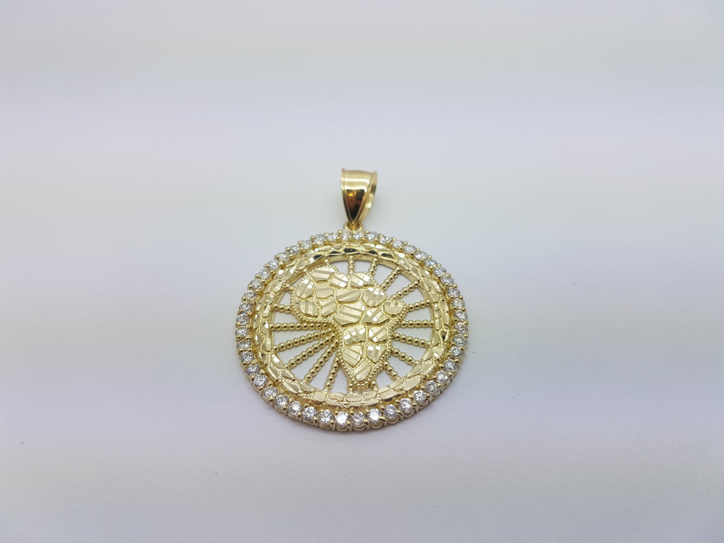 10K Solid Yellow Gold Map With Wheel Men Pendant