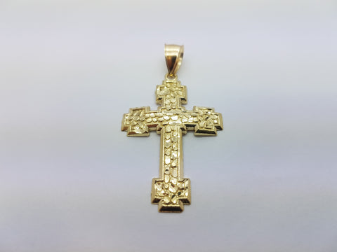 10K Solid Yellow Gold Crafted Cross Men Pendant - Solid Gold Online