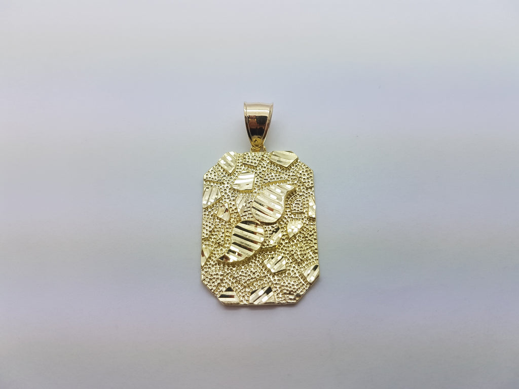 10K Solid Yellow Gold Cutting Designed Biscuit Bar Men Pendant - Solid Gold Online