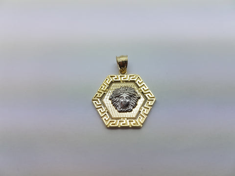 10K Solid Yellow Gold Medusa Head with Pentagon Plate Men Pendant - Solid Gold Online