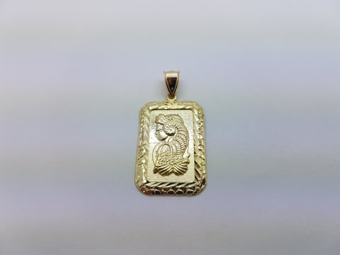 10K Solid Yellow Gold Ancient Women On Biscuit Bar Men Pendant