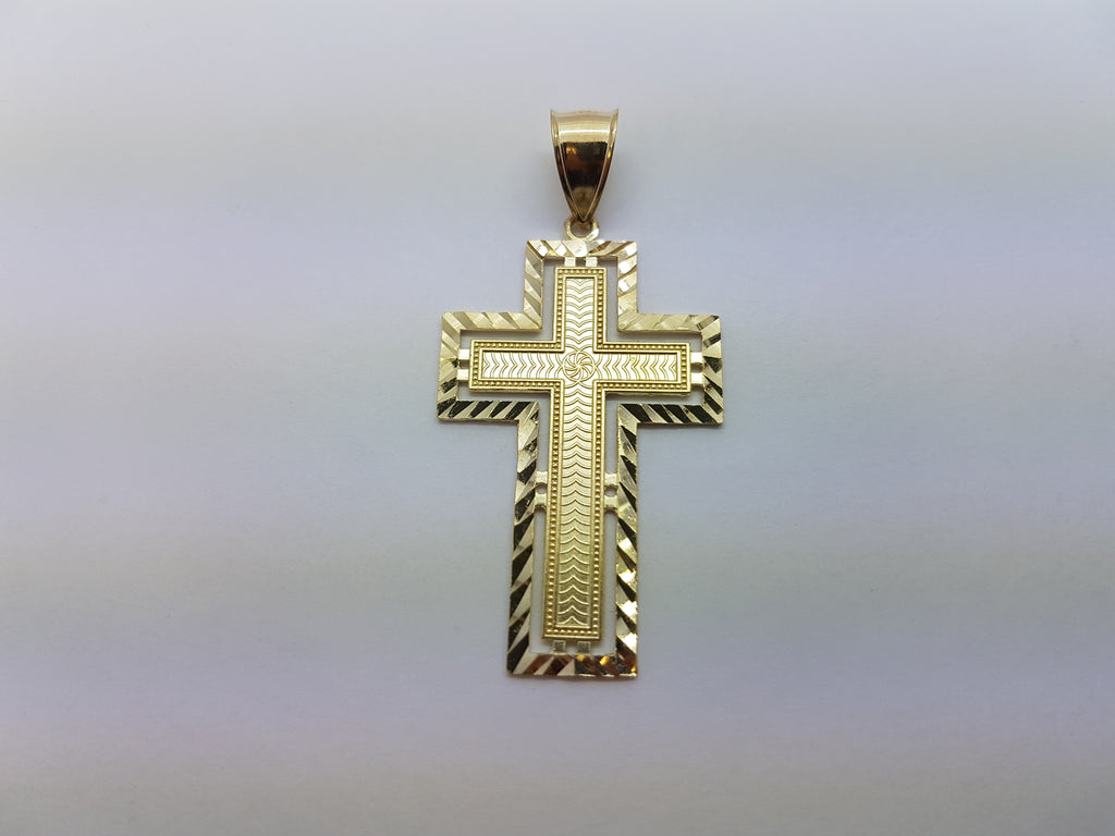 10K Solid Yellow Gold Beautiful Cutting Cross Men Pendant - Solid Gold Online