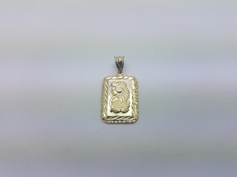 10K Solid Yellow Gold Ancient Women On Micro Biscuit Bar Men Pendant