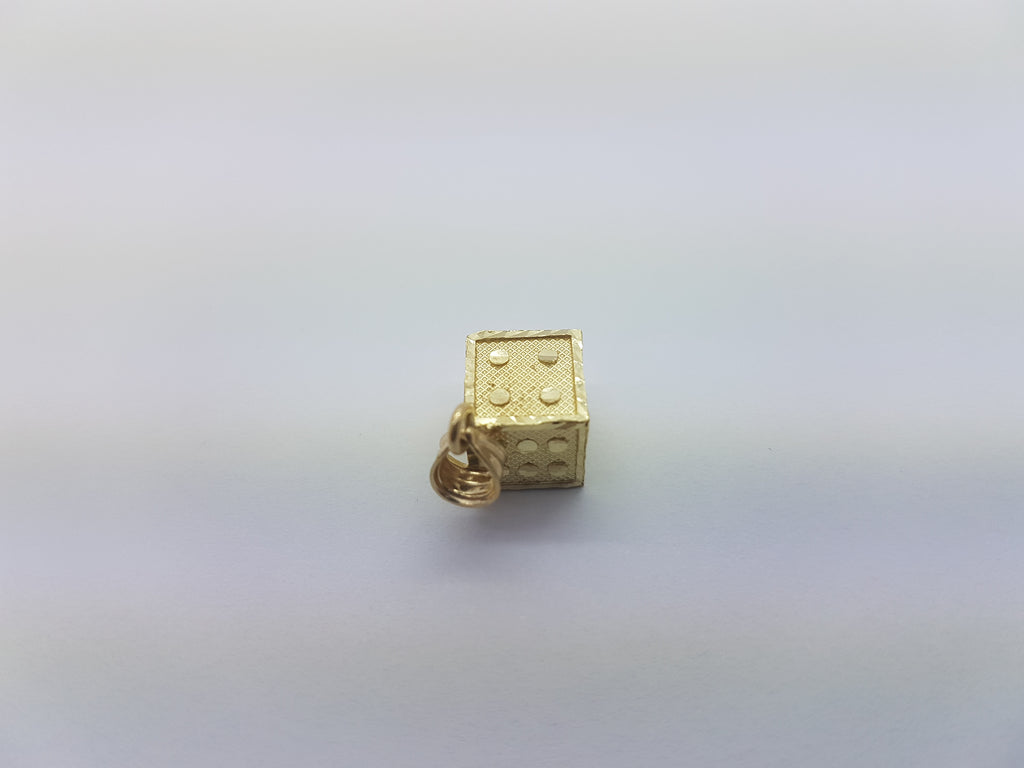 10K Solid Yellow Gold Mini Dice Men Pendant