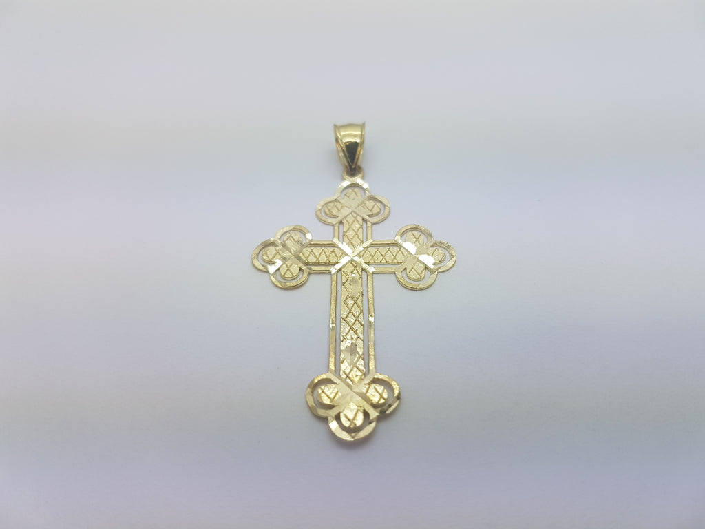 10K Solid Yellow Gold Four Sides Clover Cross Men Pendant