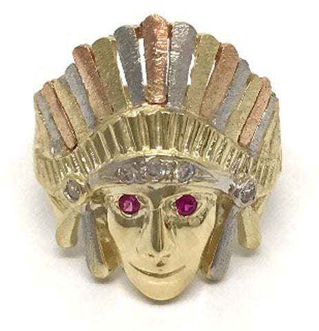 Grams Native American Head 10K Yellow Gold 6.2 Grams for Men Ring