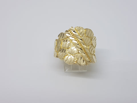 Cutting Nuggets 10K Yellow Gold Men Ring