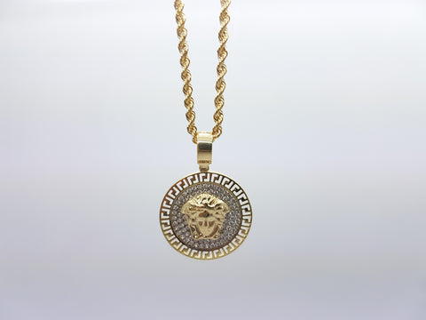 Medusa Head 10K Solid Yellow Gold Men Pendant With Gold Chain Necklace