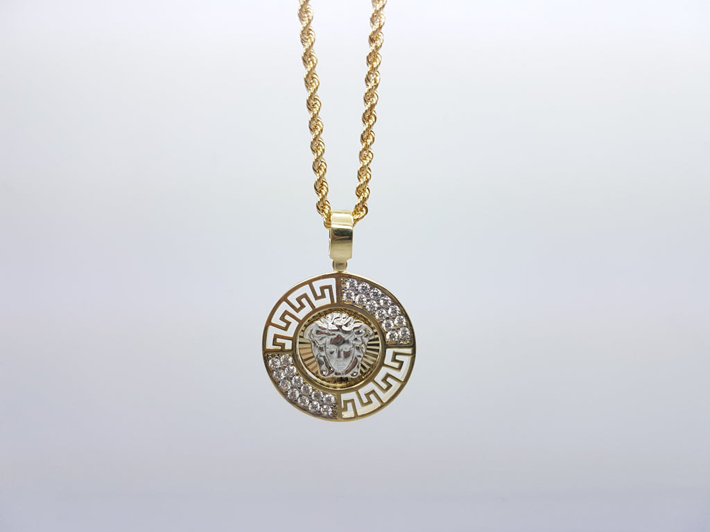 Ancient Medusa Head 10K Solid Yellow Gold Men Pendant With Gold Chain Necklace - Solid Gold Online