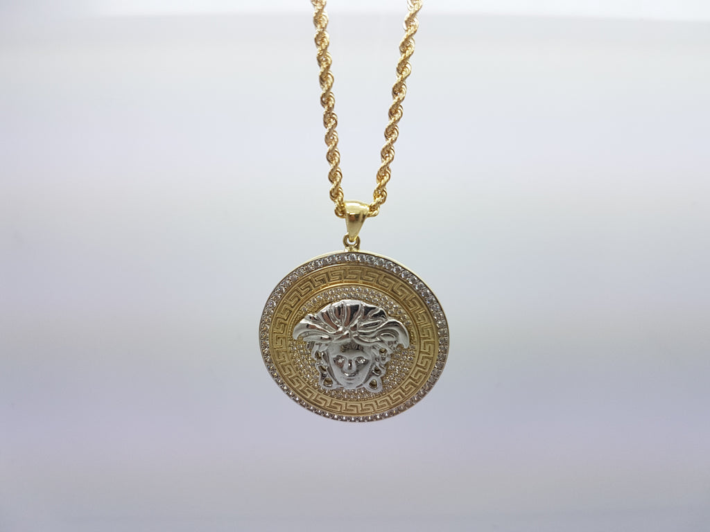 Andria Medusa Head 10K Solid Yellow Gold Men Pendant With Gold Chain Necklace - Solid Gold Online