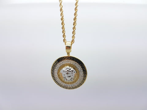 Unique Medusa Head 10K Solid Yellow Gold Men Pendant With Gold Chain