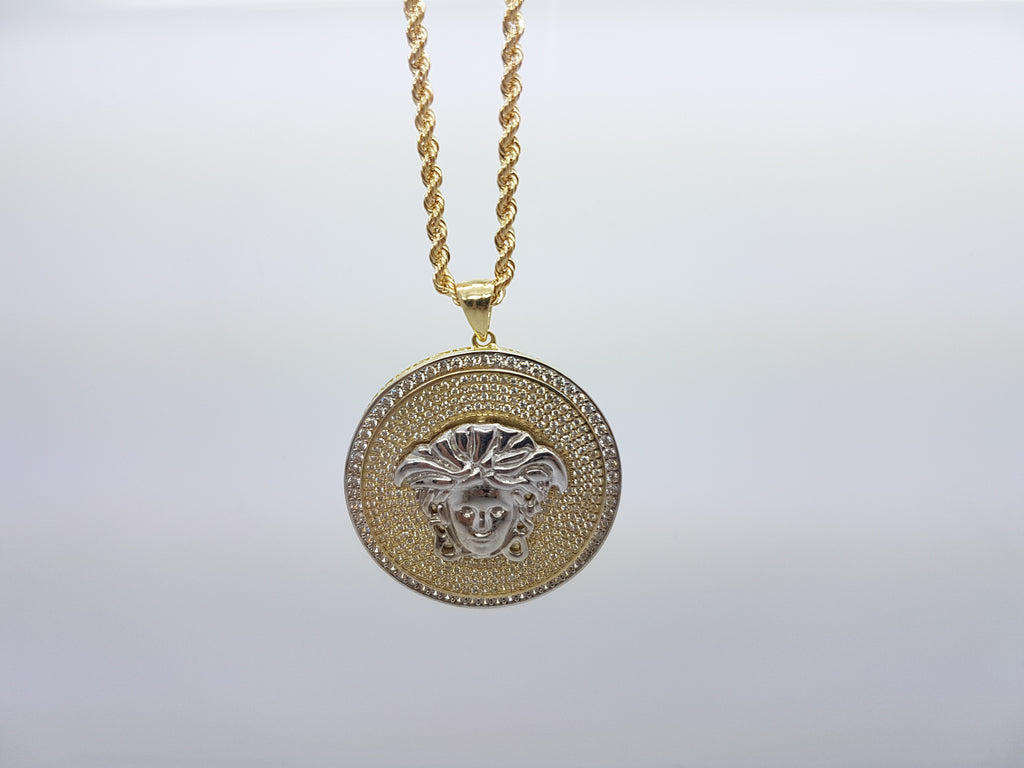 Medusa Head With Shiny Round Shaped 10K Solid Yellow Gold Men Pendant With Gold Chain - Solid Gold Online