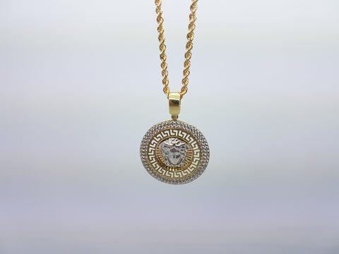 Versace Medusa Head 10K Solid Yellow Gold Men Pendant With Gold Chain