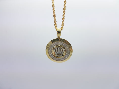 Crown Cruise 10K Solid Yellow Gold Men Pendant With Gold Chain