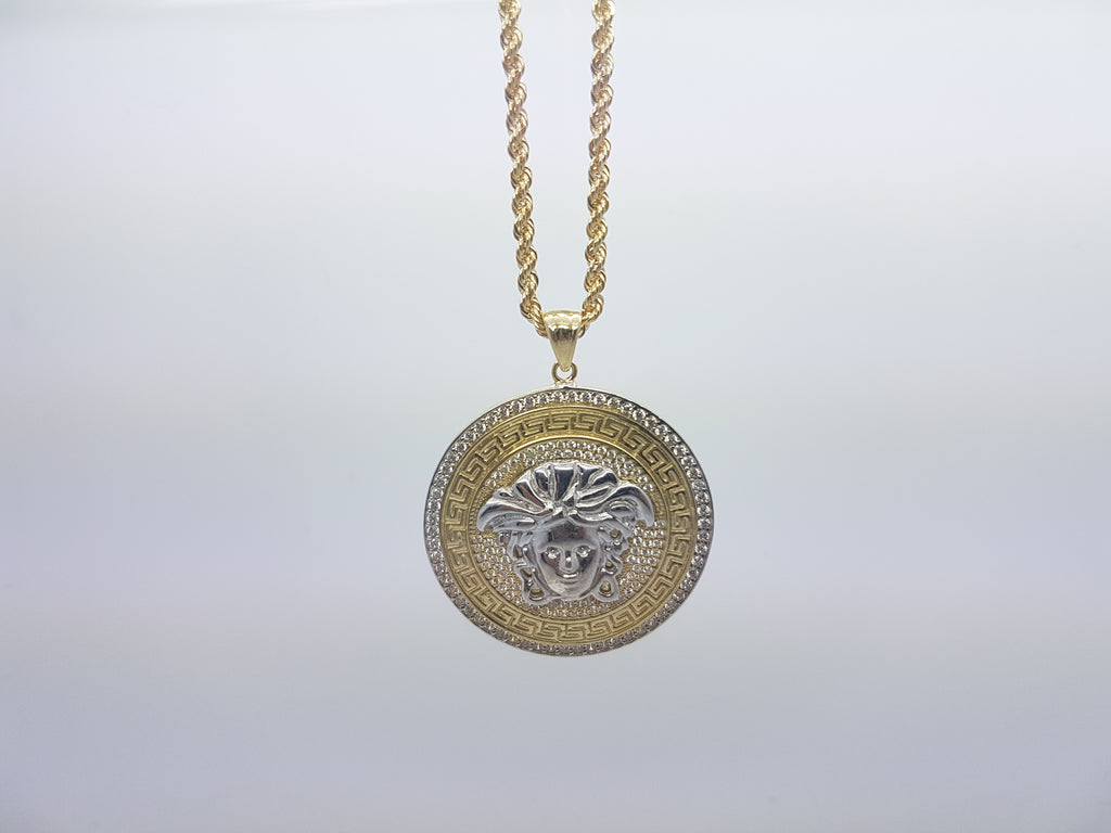 Medusa Head With Round Shaped 10K Solid Yellow Gold Men Pendant With Gold Chain - Solid Gold Online