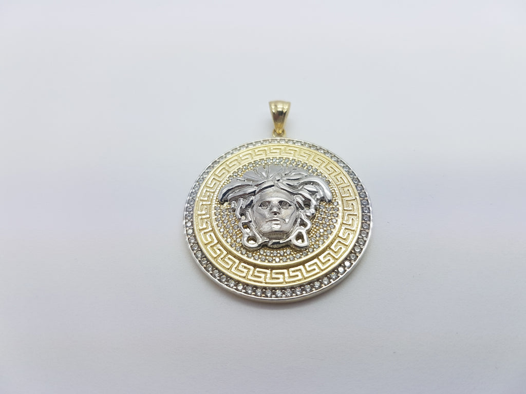 square tone round and in co gold set jewellery pendant chain box pave medusa uk amazon dp necklace