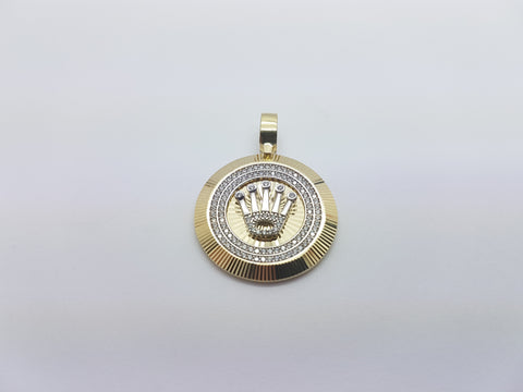 Crown Cruise 10K Solid Yellow Gold Men Pendant