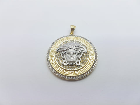 Andria Medusa Head 10K Solid Yellow Gold Men Pendant