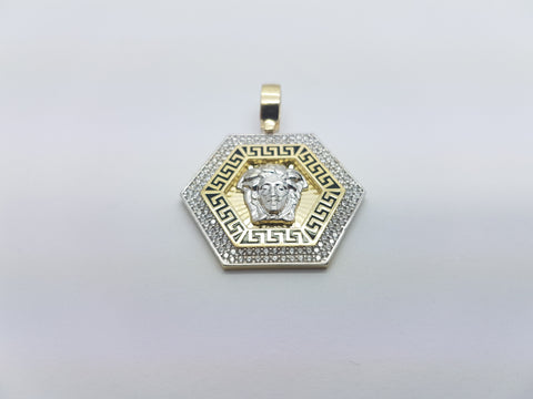 Medusa Head With Hexagon Shaped 10K Solid Yellow Gold Men Pendant