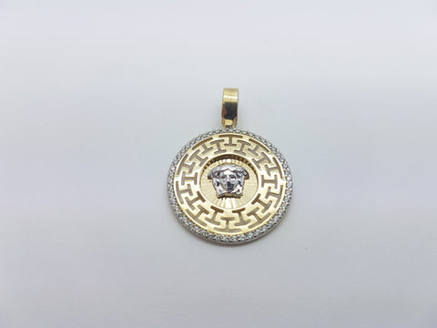 Small Oria Medusa Head 10K Solid Yellow Gold Men Pendant