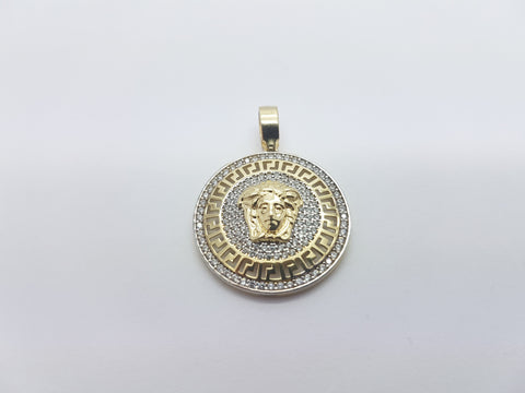 Iconic Medusa Head 10K Solid Yellow Gold Men Pendant