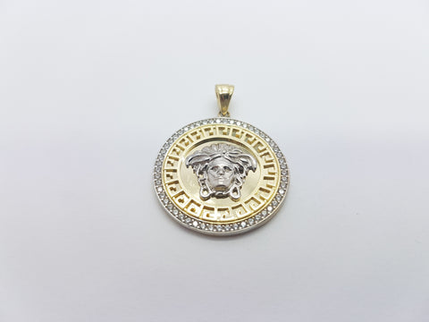 Medallion Medusa Head 10K Solid Yellow Gold Men Pendant
