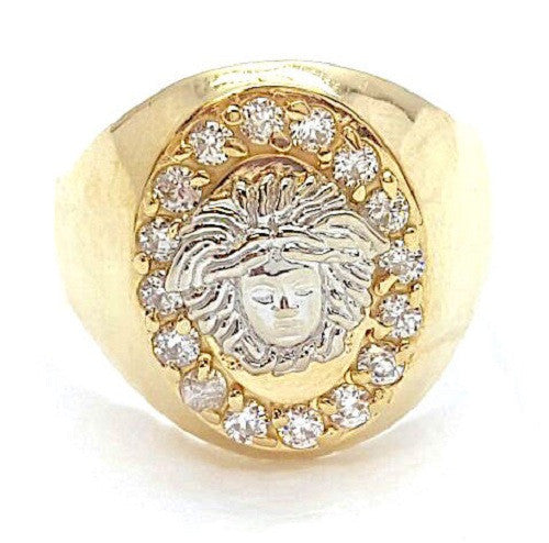 10k Yellow Gold Enzo Round Shape Ring Cubic Zirconia Men Ring - Solid Gold Online