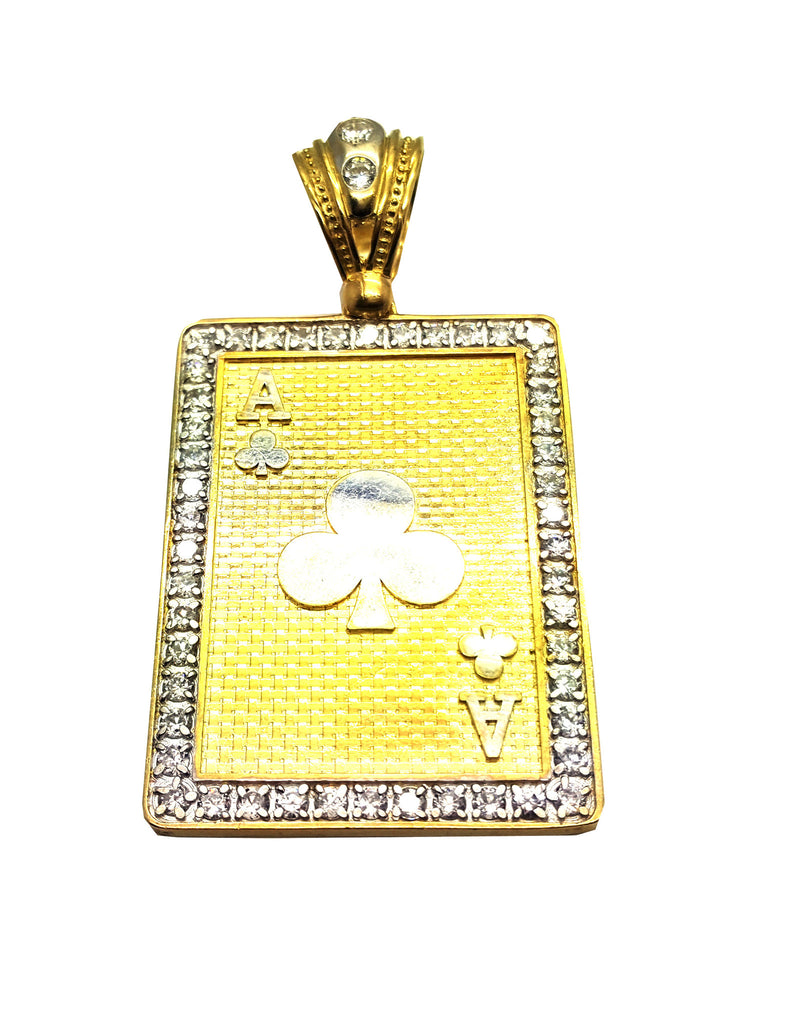 Ace of Cloves 10K Yellow Gold 25.59 Gr Men Pendant