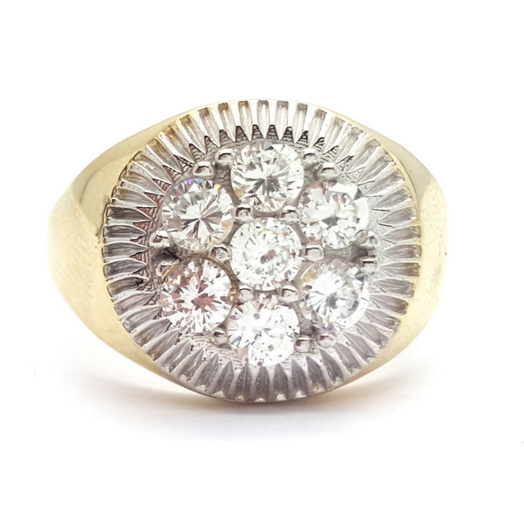 10k Yellow Gold Cubic Zirconia Barcs Round Shape Men Ring - Solid Gold Online