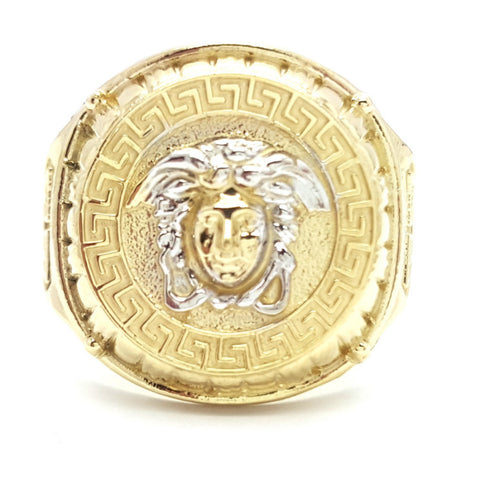 10k Yellow Gold Bicske Round Shape Cubic Zirconia Men Ring - Solid Gold Online