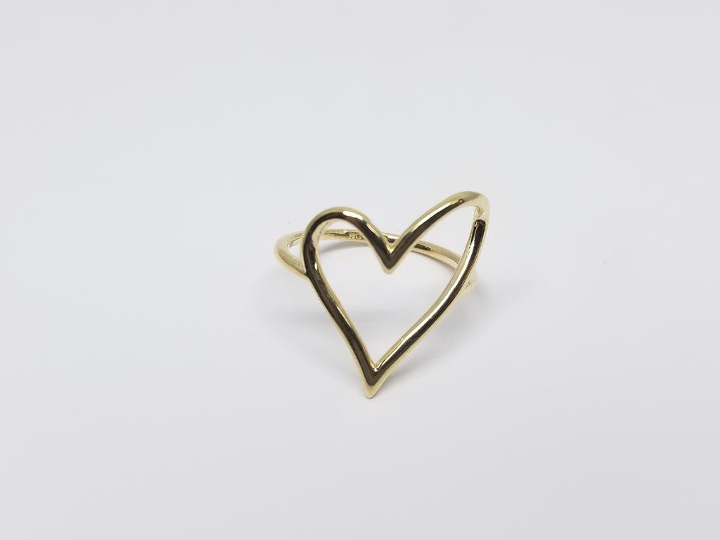 Cutting Heart Shape 10k Yellow Gold Women Ring - Solid Gold Online