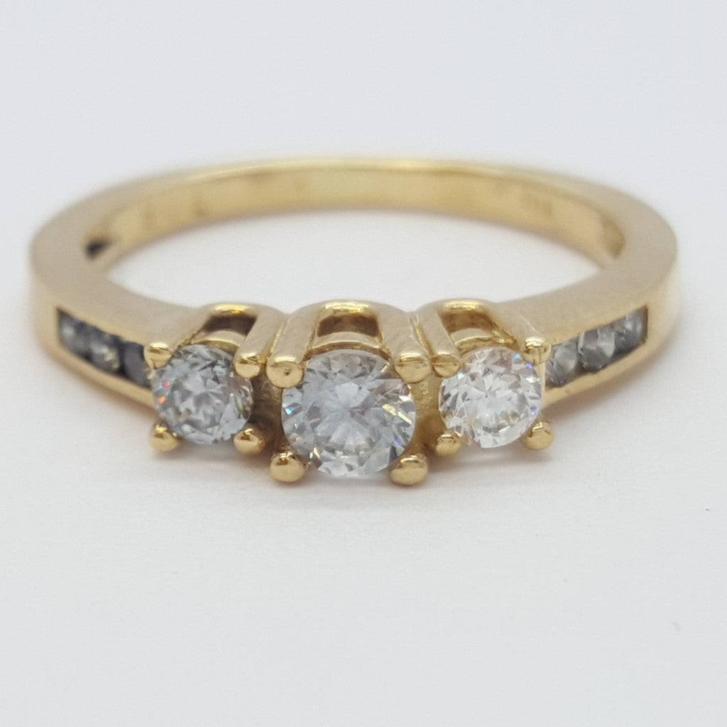 Flaminia 10K Yellow Solid Gold 3 Stone Diamond Women Ring - Solid Gold Online